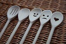 Beech Wood Spoons  Wooden Cooking Spoon Utensils Heart Smiley Sad Face Gift SET