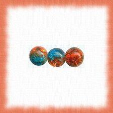 50 perles craquelées 8mm brun/turquoise