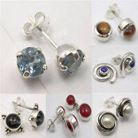 925 Silver BLUE TOPAZ & Other Gems ROUND Studs Posts Earrings ! Women Jewelry