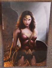 Wonder Woman Gal Gadot Glossy Art Print 11 x 17 In Hard Plastic Sleeve