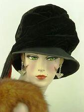 """Sombrero Vintage 1940s francés era de la segunda guerra mundial, señoras terciopelo negro 'hacer do & Mend """"día Sombrero"""