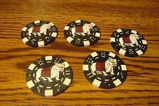 #5 USMC MARINES Bulldog emblem Poker Chip,Golf Ball Marker,Card Guard Blk/White