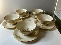 LENOX 24K Harvest R-441 Fine China  Set of 5 Coffee Tea Cups & 5 Saucers, USA