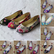 Women's Ladies Casual Ballet Loafers Floral Print Metal Pointed Toe Flats