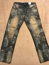 PRPS GOODS BARRACUDA Mens Painted Jeans Regular 40 x 34  White & Blue Splatters