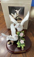 "Wellington Collection White Doves Porcelain 8.75""Figurine Birds Pink Rose W Base"