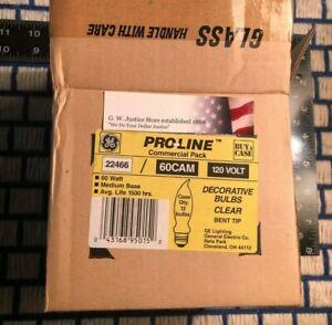 BOXof 12 new USA 60w GE BENT TIP LIGHT BULB CLEAR FLAME regular E26 medium base