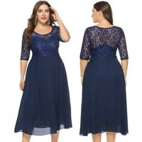 Women Lace Bridesmaid Wedding Party Cocktail Evening Formal Prom Dress Plus Size
