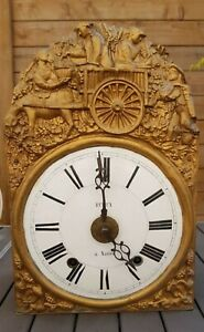 BEAUTIFUL FRENCH MORBIER COMTOISE CLOCK 19TH CENTURY