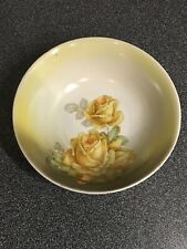 Vintage Germany - Pale Green Serving Bowl With Hand Painted Yellow Roses 8-1/4�