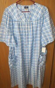 NWT GRANADA ladies snaps BLUE PLAID SEERSUCKER duster robe breakfast coat 3X