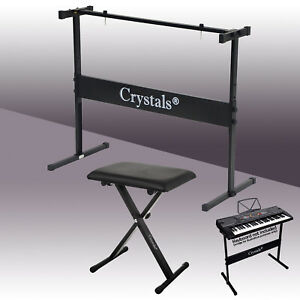 Full Size Music Piano Keyboard Stand & Chair Height Adjustable Rectangular Frame
