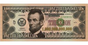 Abraham Lincoln Trillion Dollars US USA Money Fun Note Bill Novelty Gospel tract