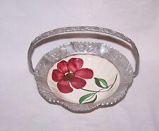 Vintage Blue Ridge Pottery Basket Ornate Aluminum Frame / Handle Floral Design