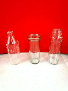Lot Of 3 - Vintage Glass Baby Bottles Made In USA, Pyrex, Sears, Hygeia