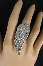 Fashion Angle Wing Bird Rhinestones Fly New Women Silver Ring Metal Elastic Band
