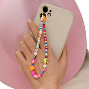 Soft Pottery Rope Cell Phone Lanyard Smiling Beads Chain Mobile Phone Straps