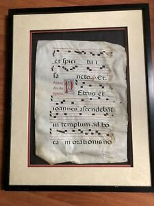 Framed 16 Century Gregorian Chant  Music Parchment Page.   No Reserve!