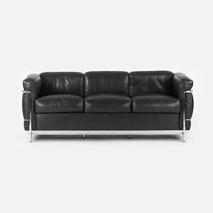 1980s Le Corbusier Cassina LC2 Black Leather and Chrome Petit Modele 3-Seat Sofa