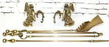 Antique Brass Fire Companion Set and Fire Dogs Andirons - FREE Shipping [PL4154]