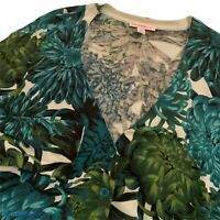 Isaac Mizrahi Live Womens XL Sweater Green Floral Cardigan Long Sleeve Cotton