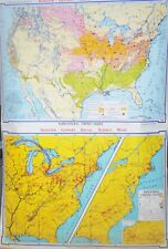 2 ROLL UP SCHOOL MAPS DENOYER AGRICULTURAL U.S. /  INDUTRIAL  U.S. SHIPS FREE