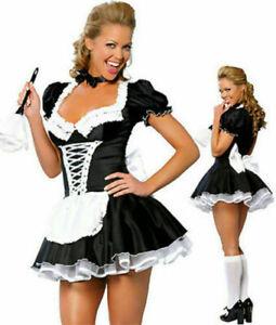 Sexy Satin French Maid Erwachsene Uniform Kostüm  Party Party Outfit Schwarz DE