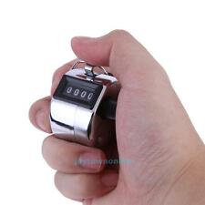 Digital Hand Held Tally Metal Counter 4 Digit Number Manual Clicker Golf Chrome