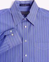Savile Row Mens Dress Shirt Size 16 / 34-35 Wrinkle Free Broadcloth Blue Stripes