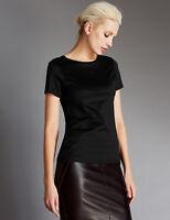 ex M&S AUTOGRAPH Luxe Cupro Versatile Basic Top T-Shirt