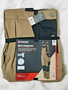 Parkside Work Dungarees Builder Overalls Trousers 36 UK 52 EU Khaki Pockets New