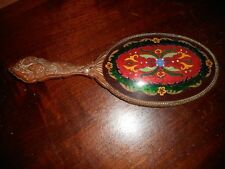 A VICTORIAN HAND MIRROR W/ FIGURAL SPELTER FRAME/HANDLE & CLOISONNE BACK
