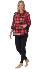 CUDDL DUDS Womens Red Plaid Poncho & Black Leggings Fleece Pajama Set  Size XS