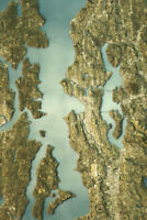 Seattle Satellite View Topographic Map Landscape Photo Art Print Poster 12x18