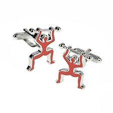 Onyx-Art CK929 Weight Lifter Symbol Metallic Cuff Links plus FREE Pen