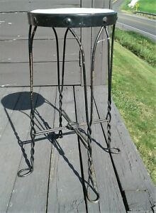 Antique Ice Cream Parlor Tall Stool w Twisted Wire Legs Walden Pierce Ind 1920s