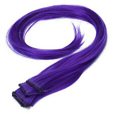 5Pcs Clip-on In Hair Extensions Straight 23.6 Inch -Blue Violet LW