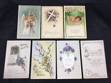 Embossed Easter Vintage Greetings Post Cards Set of 7 Early 1900s Posted