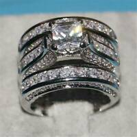 Elegant Women 925 Silver Jewelry Wedding Set Rings White Sapphire Ring Size 6-10