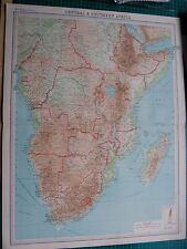 1922 LARGE ANTIQUE MAP- AFRICA, CENTRAL & SOUTHERN