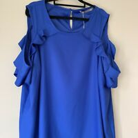 Katies Dress Size 20, Royal Blue, Cutout Sleeve, Ruffle, NWOT, Party/summer