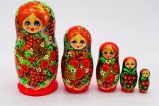 Russian Nesting Dolls Hand Made Matryoshka, Babushka Wooden 5 pcs Toys Souvenirs