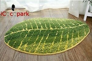 Green Leaf Shaped Carpets Bathmat Living Room Carpet Bedroom Washable Floor Rugs