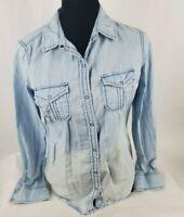 Arizona Jeans Co Womens Western Shirt Sz S Sm Snap Button Blue Chambray Amazing