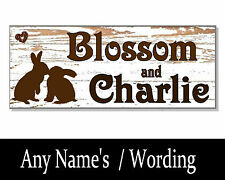 Shabby DOUBLE Rabbit PERSONALISED NAME Hutch Sign Plaque House cage garden run