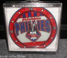 "Philadelphia Phillies Art Glass 12"" Wall Clock MLB Lic. The Memory Company New"