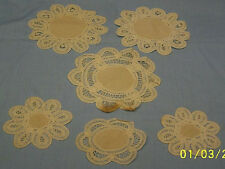 """Lot of 6 Lace Circles Off White 5.5"""" To 3.75 Linens Lace Crochet Doilies"""
