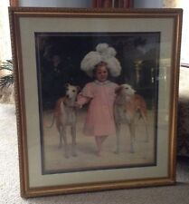 Beautiful Framed Print - Alice Antoinette De La Mar, Aged Five with Whippets