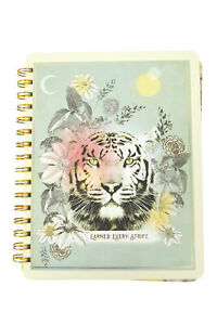 """Papaya Art Tiger and Floral Art """"Earned Every Strip"""" Spiral Journal Notebook"""