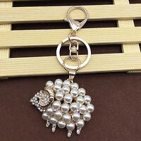 Full Pearls Sheep Lamb Crystal Pendant Handbag Bag Purse Keychain Key Ring